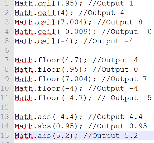 Difference between ceil(),floor() and abs() in javascript