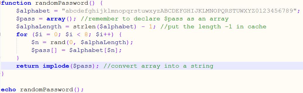 Generate Random password using PHP