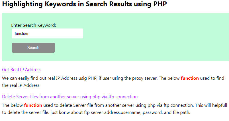 Highlighting keywords in search results using php